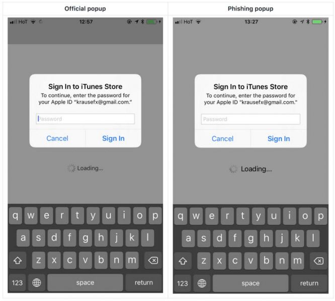 Attention aux popups mots de passe dans iOS — Phishing