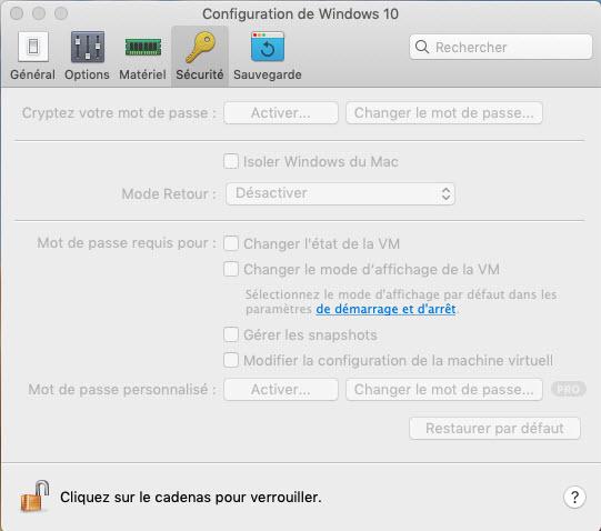 Parallels Desktop paramètres